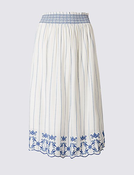 Striped Embroidered Hem Midi Skirt
