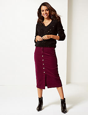 Cotton Rich Textured Pencil Midi Skirt