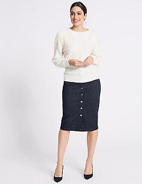 Cotton Rich Striped Denim Skirt