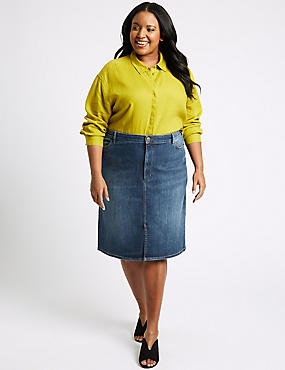 CURVE Cotton Rich Stretch Denim Skirt