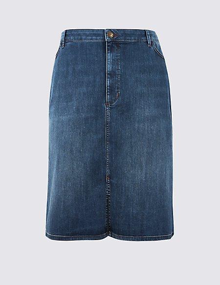 CURVE Cotton Rich Stretch Denim Skirt