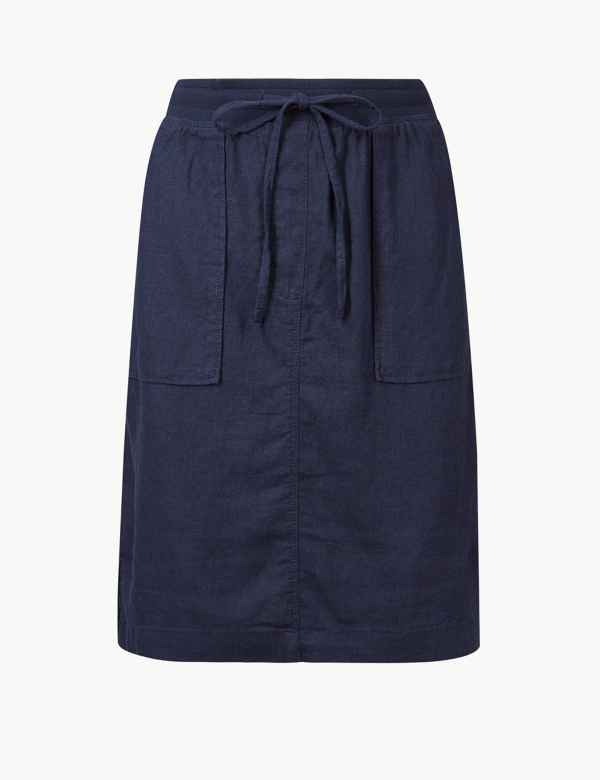 153f9b36c2 Linen Rich A-Line Skirt. M&S Collection