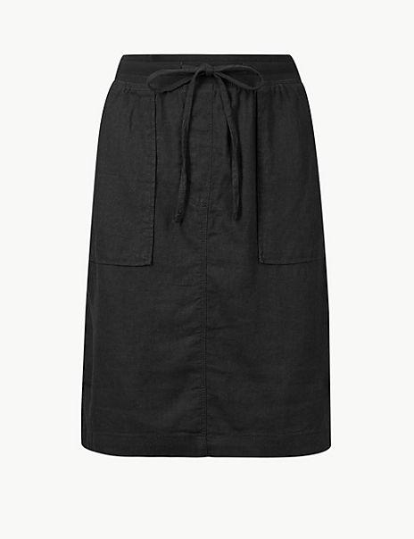 Linen Rich A-Line Skirt