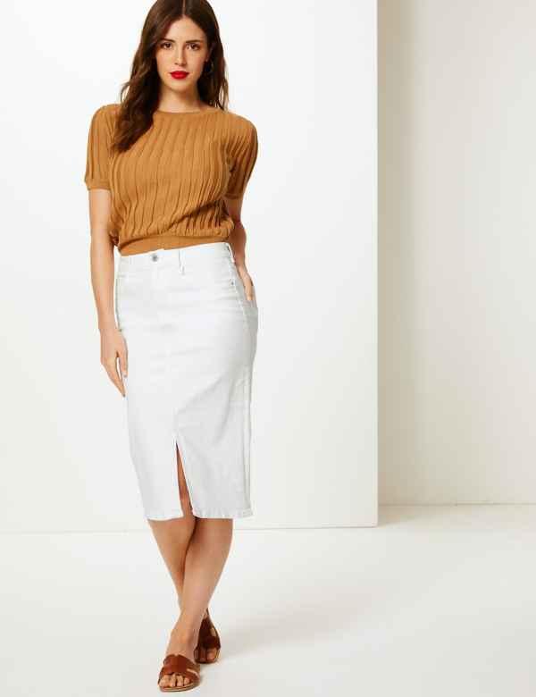 4e2ab1f418d Authentic Split Front Denim Skirt