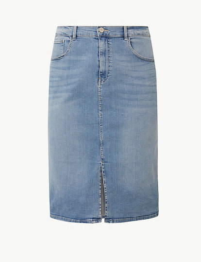 a798f749f9 Authentic Split Front Denim Skirt | Skirts | Marks and Spencer JE