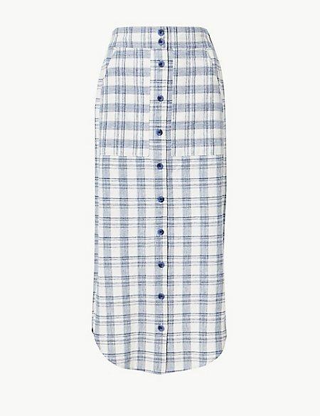 Cotton Rich Checked A-Line Midi Skirt