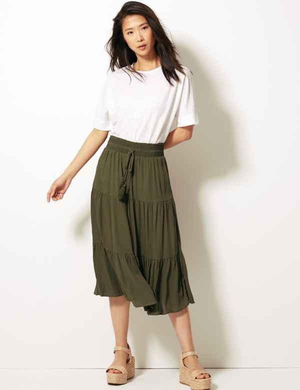 5b7badac7e A-Line Midi Skirt