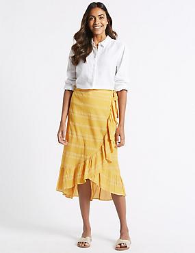 Pure Cotton Jacquard Print Full Midi Skirt