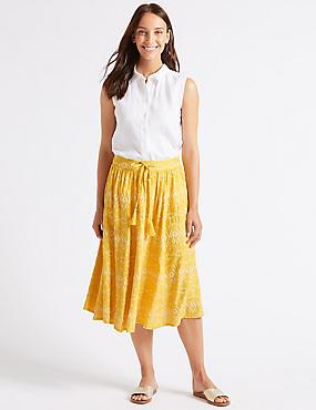 Embroidered Full Midi Skirt