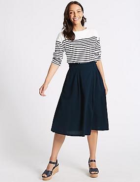Pure Cotton Textured Full Midi skirt