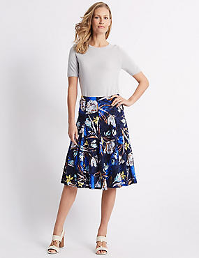 Cotton Blend Floral Print Full Midi Skirt