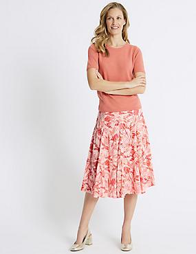 Cotton Blend Floral Print Full Midi Skirt