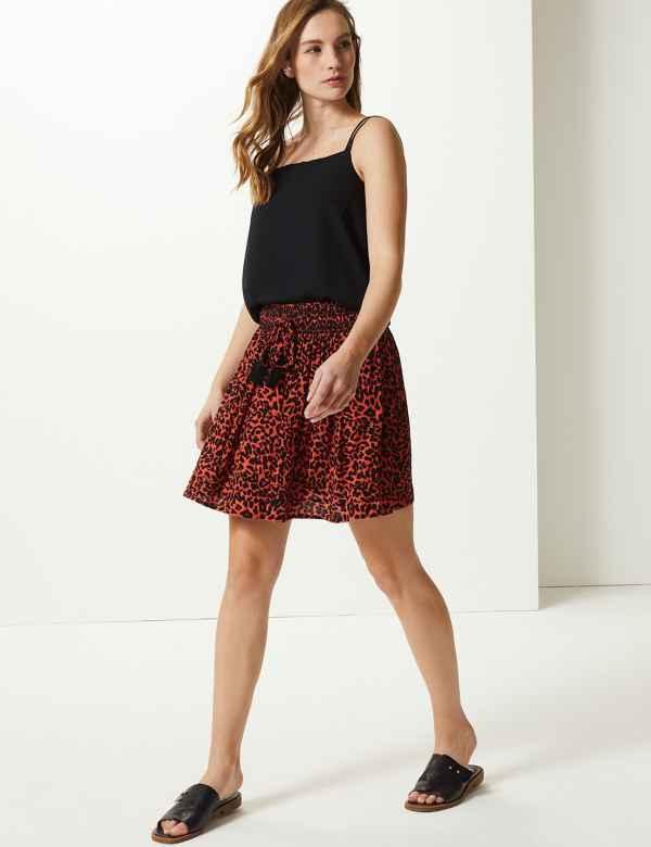 c2da1218e Animal Print Pleated Mini Skirt