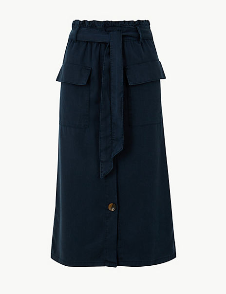 Midi A-Line Skirt with Cotton
