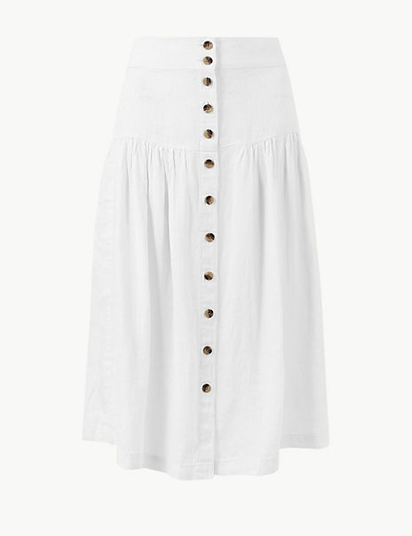 Pure Linen Midi Fit & Flare Skirt
