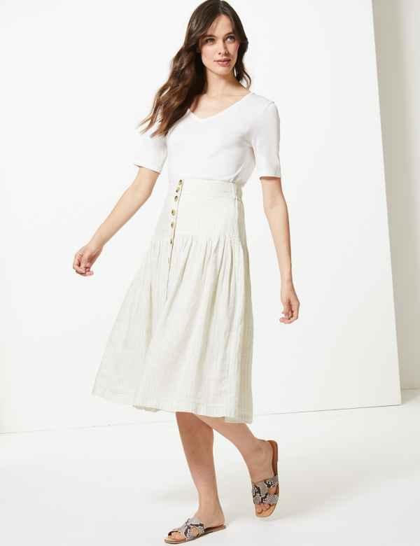 Pure Linen Checked A-Line Midi Skirt 94d44289eb8