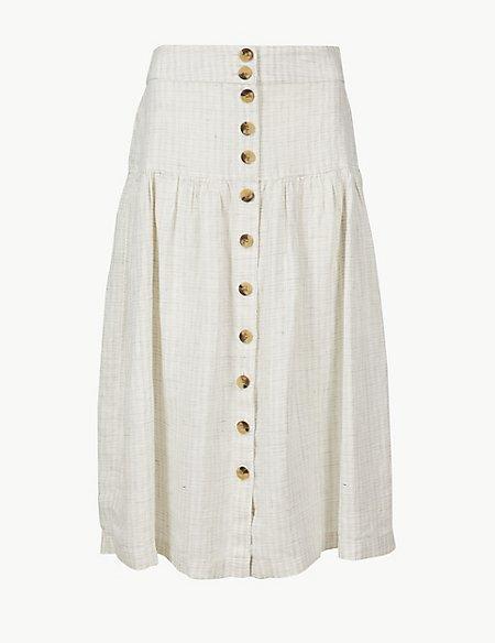 Pure Linen Checked A-Line Midi Skirt