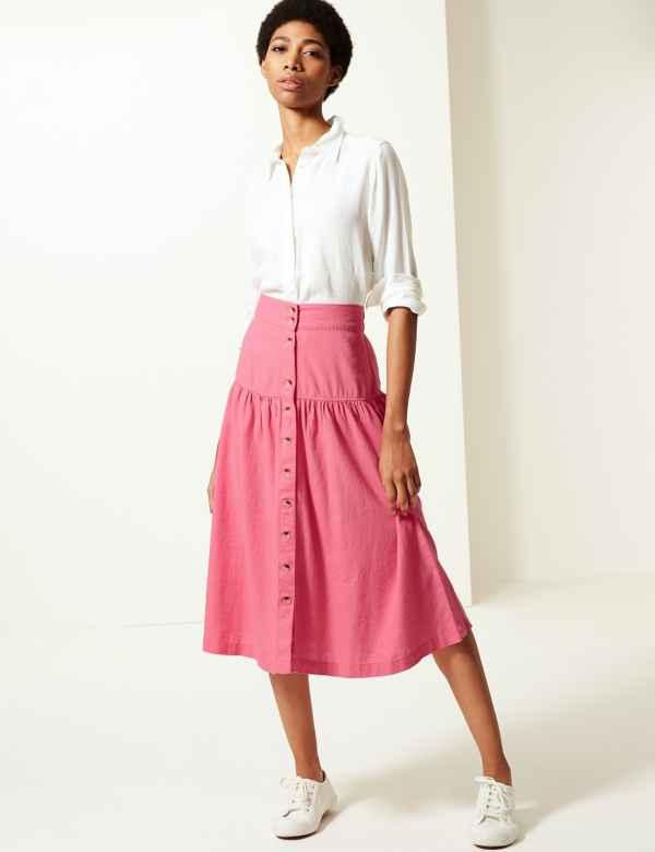 56f4fcbc71 Linen Rich Button Detailed A-Line Midi Skirt. M&S Collection