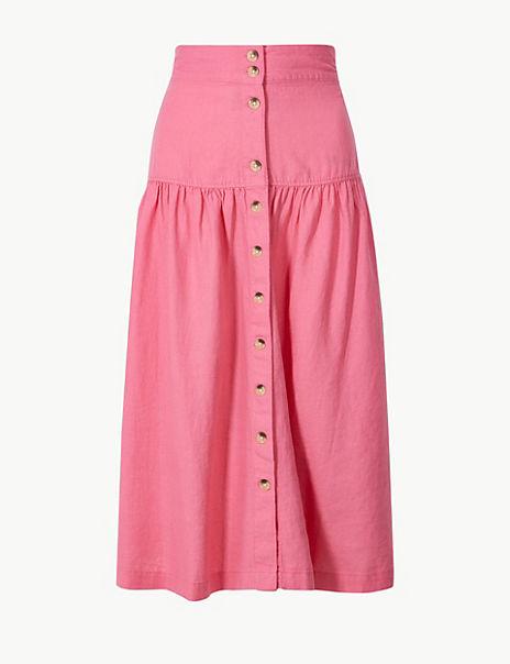 Linen Rich Button Detailed A-Line Midi Skirt