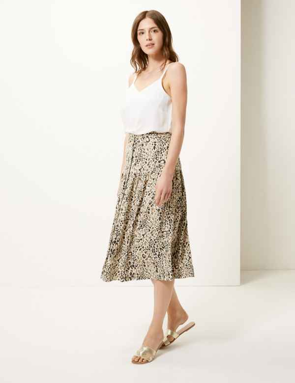 da7bb7d7d10 Linen Rich Animal Print A-Line Midi Skirt