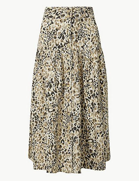 Linen Rich Animal Print A-Line Midi Skirt
