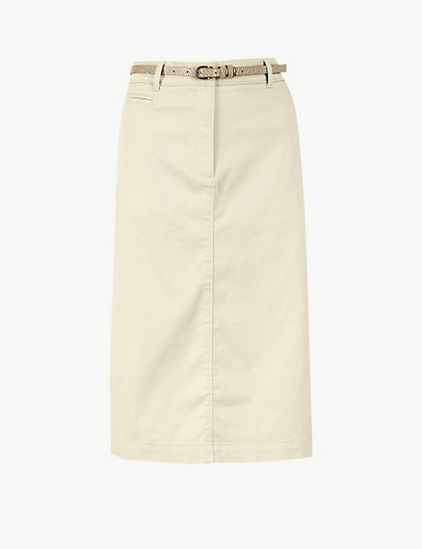 Cotton Rich Chino A-Line Skirt