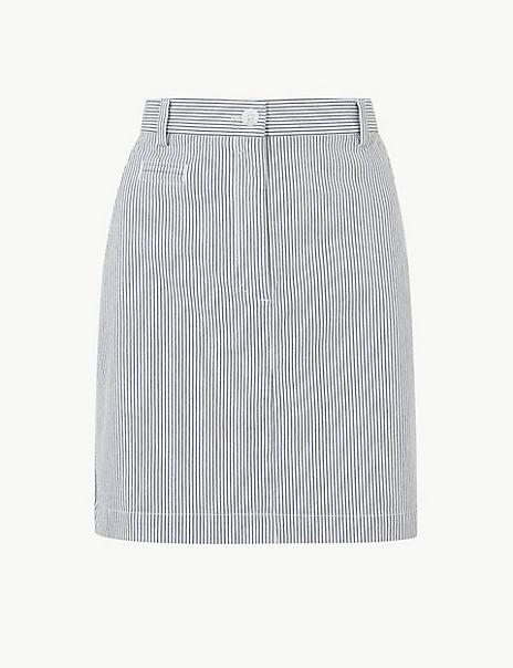 Striped A-Line Mini Skirt