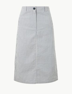 4dd2d2cb0a9 Pure Cotton Striped A-Line Midi Skirt £29.50