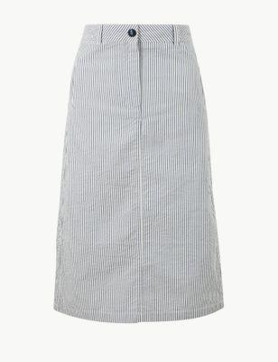 aba8ad9d18cb Pure Cotton Striped A-Line Midi Skirt £29.50