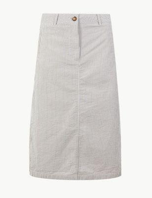 9d43ed63977e Pure Cotton Striped A-Line Midi Skirt £29.50