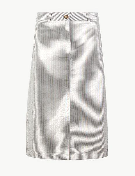 Pure Cotton Striped A-Line Midi Skirt
