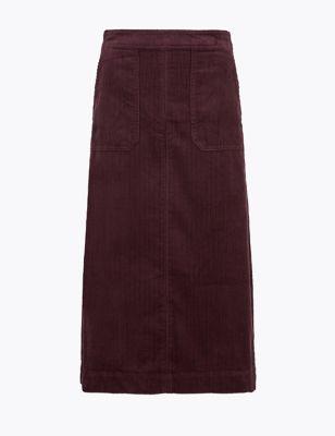 Cord Midi A-Line Skirt