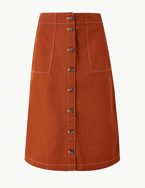 Pure Cotton A-Line Knee Length Cargo Skirt