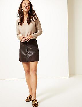 Faux Leather A-Line Mini Skirt