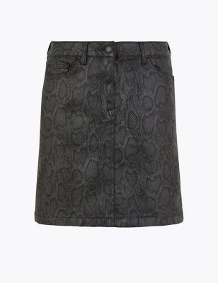 Animal Print Denim Mini Skirt by Marks & Spencer