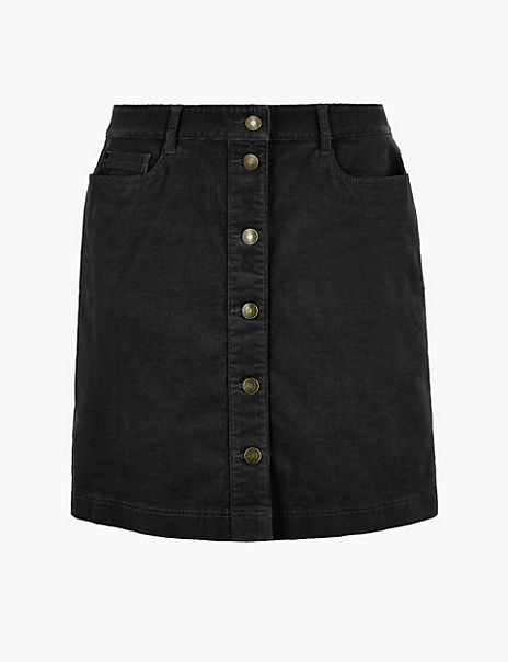 Corduroy Button Front A-Line Mini Skirt