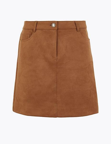 Suedette Stretch Mini Skirt