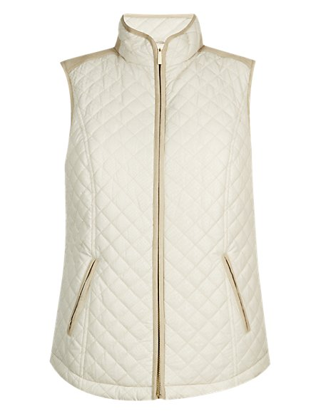 Quilted Metallic Print Gilet with Stormwear™