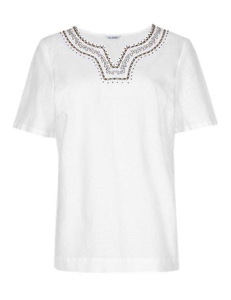 Linen Blend Embroidered Neckline Blouse