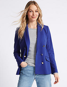 Double Breasted Gold Button Jacket, BLUE, catlanding