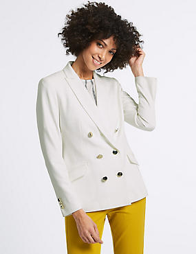 Double Breasted Gold Button Jacket, WINTER WHITE, catlanding