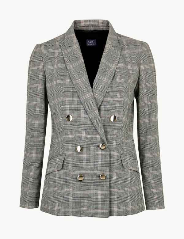 64f6436360c Checked Double Breasted Blazer. M S Collection