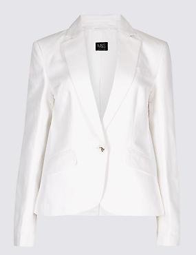 Linen Blend Single Breasted Blazer