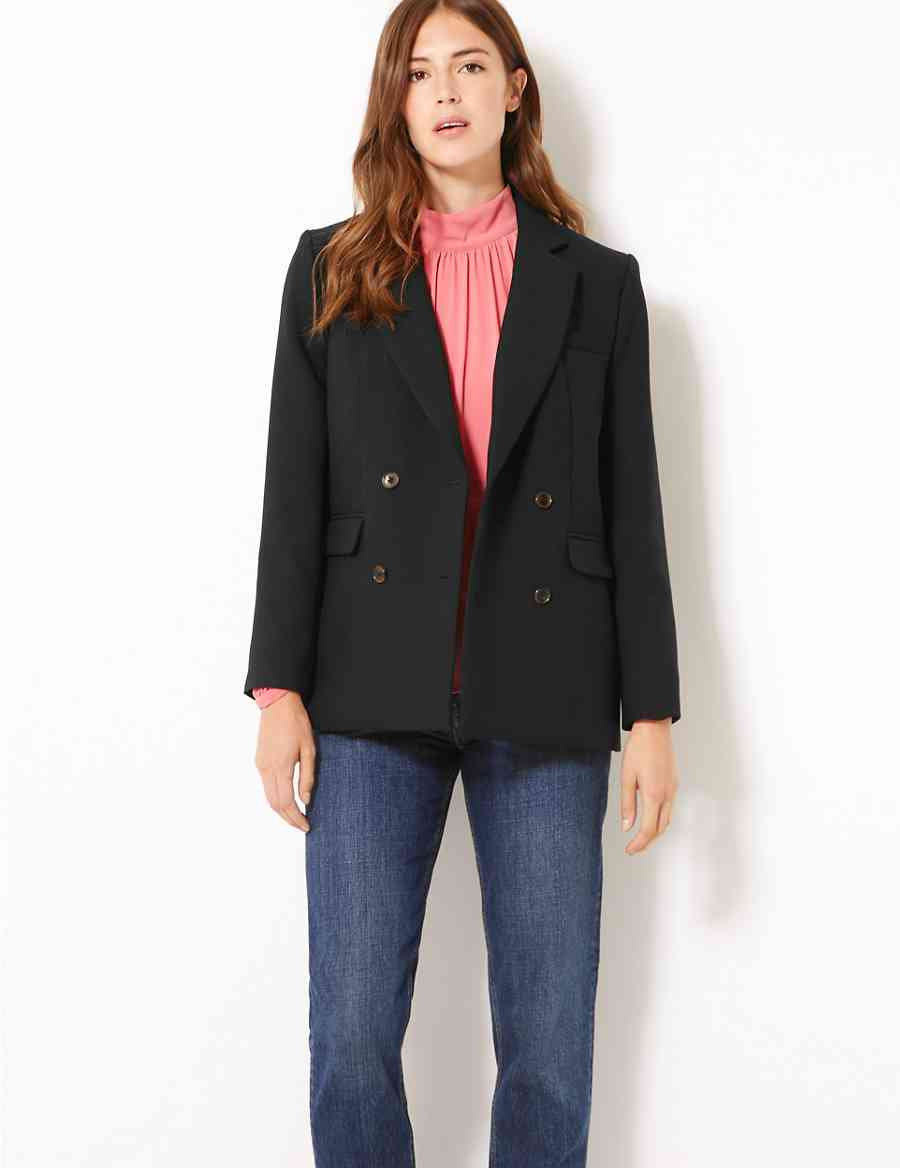 Double Breasted Oversized Blazer M S Collection M S