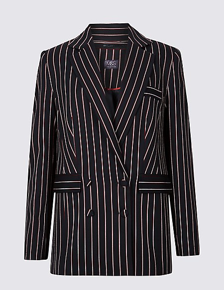 Striped Double Breasted Blazer