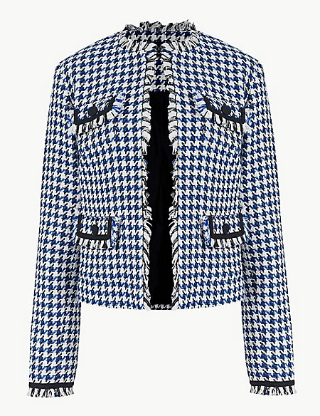 Checked Open Front Blazer