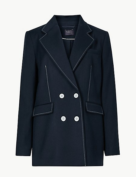 Contrast Stitch Double Breasted Blazer