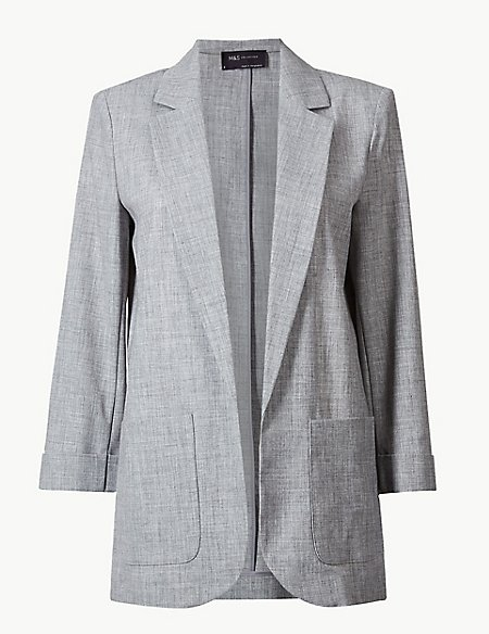 Textured Open Front Blazer
