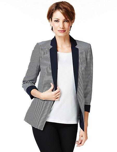 Notch Lapel Narrow Striped Tailored Jacket