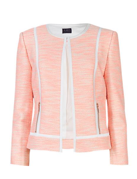 Cotton Rich Zipped Pockets Tweed Jacket